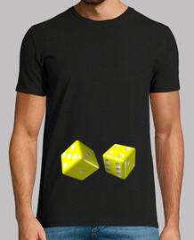 Camiseta negra dados amarillos