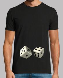 Camiseta negra dados blancos