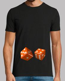 Camiseta negra dados naranjas