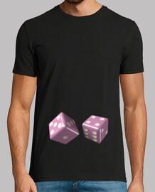 Camiseta negra dados rosas