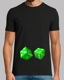 Camiseta negra dados verdes