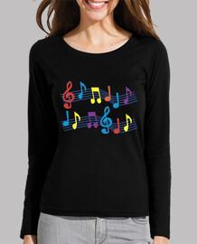 camiseta negra notas musicales