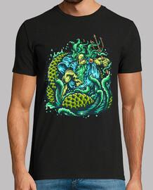 Camiseta Neptuno Mar God Of The Sea Color Verde Océano Tridente