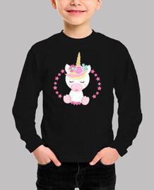 Camiseta niña unicornio rosa manga corta