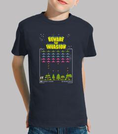 Camiseta niño Dronecoria Space Invaders Beware the invasion