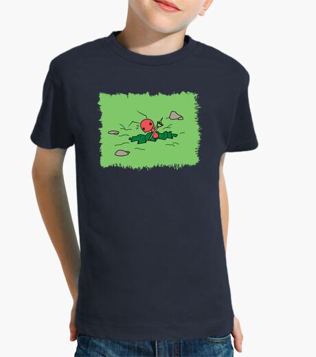 Ropa infantil Camiseta Niño Hormiga cavando estampado verde sin letras