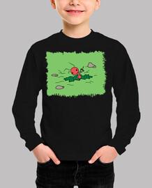 Camiseta Niño Hormiga cavando estampado verde sin letras
