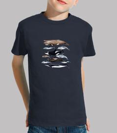Camiseta niño niña Delfines y ballenas del Atlántico y Cana