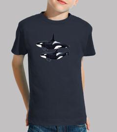 Camiseta niño niña Orca (Orcinus orca), macho y hembra