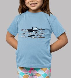 Camiseta niño Orcas, delfines y blackfish