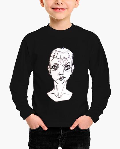 """Ropa infantil Camiseta niño original ilustración """"one line""""  sad boy"""