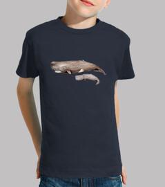 Camiseta niño y niña Cachalote con cría