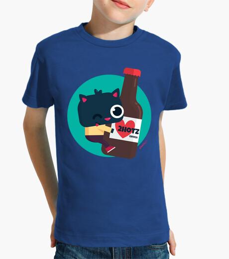 Ropa infantil Camiseta niño/a, manga corta - Gato con cerveza 2hotz (varios colores)
