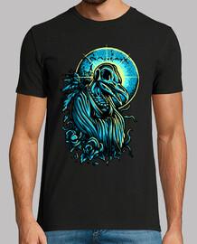 Camiseta Noche Luna Arte Color Dibujo Azul Brillante