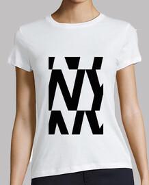 Camiseta NY Mujer, manga corta, blanca, calidad premium