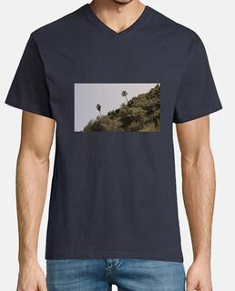 Camiseta Palmera Hombre, manga corta cuello pico largo, caqui
