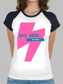 Camiseta para mujer, estilo béisbol, blanca y azul marino