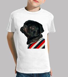Camiseta para niño con diseño de  Perro Pug Carlino con camisa de rallas
