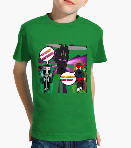 Ropa infantil Camiseta Para NIño Minecraft Lucha Con Dragon
