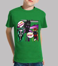 Camiseta Para NIño Minecraft Lucha Con Dragon