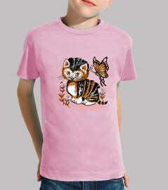 Camiseta para niño o niña Gatito retro