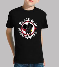 camiseta para niños - bloque negro siempre antifa