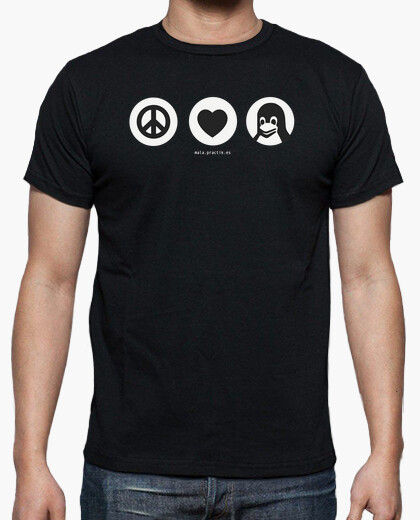 Camiseta peace, love, linux @shopbebote