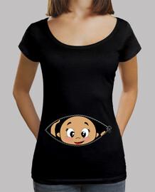 camiseta peekaboo bebé schwarz spähen, weithals & loose fit,