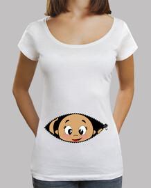 camiseta peekaboo bebé spähen, weithals & loose fit, weiß