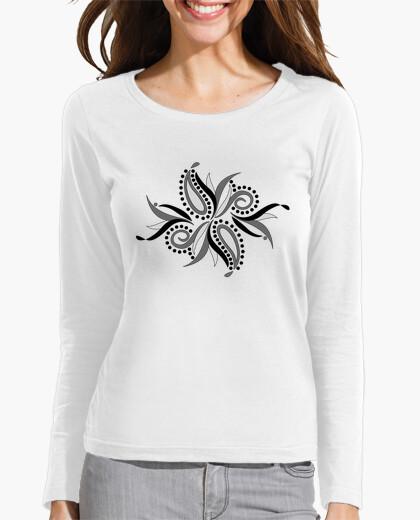 Camiseta pétalos abstractos grises