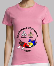 camiseta petanque siesta apero qué más mujer