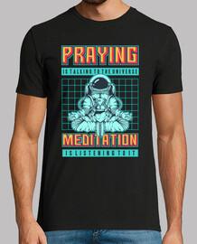 Camiseta Pixel Art Retro 80s 90s Pixelado Vintage Astronauta Meditación Espacial