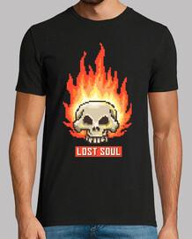 Camiseta Pixel Art Retro 80s 90s Vintage Calavera Fuego Lost Soul