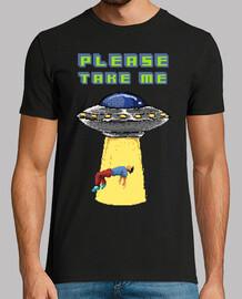 Camiseta Pixelada Retro Pixel Art Alien Ovni Abducción. Please Take Me