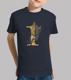 Camiseta primer cumpleaños con número 1 dorado