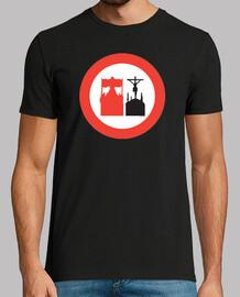 Camiseta prohibido adelantar cofrade Hombre, manga corta, negra, calidad extra