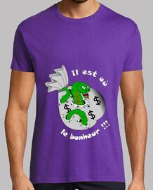 camiseta que es o felicidad hombre blanco gusano