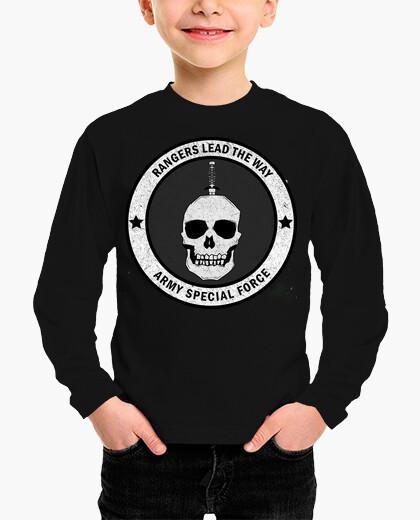 Ropa infantil Camiseta Ranger Army manga corta, negra