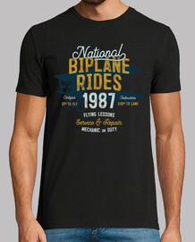 Camiseta Retro 1987 Mecánicos Avionetas Aviones Instructores Vuelo Biplane