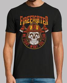 Camiseta Retro Bomberos Vintage Skull Bombero
