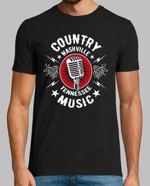 Camiseta Retro Country Music Micrófono Rockabilly Nashville Memphis Tennessee Rock N Roll