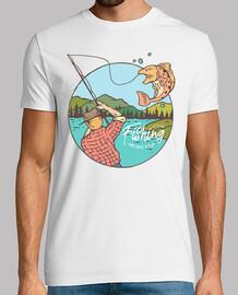 Camiseta Retro Pescador Pesca Vintage Fishing