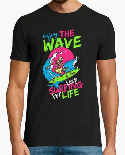 Camiseta Retro Surfing Esqueleto Skulls Surf Calavera