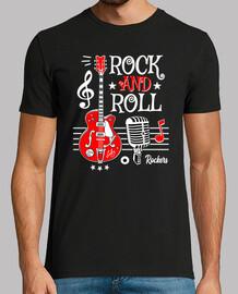 Camiseta Rock Guitarra Rock and Roll Micrófono Vintage Rockabilly Music Rocker