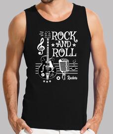 Camiseta Rock Guitarra Rockabilly Music Micrófono Rocker Rock and Roll 1950s 60s 70s