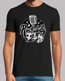 Camiseta Rock Música Rockabilly Vintage Rockers Retro Rock and Roll Dados Micrófono