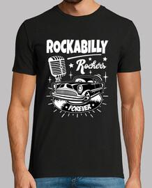 Camiseta Rockabilly Music Rockers Retro Classic Car Rock N Roll Vintage Micrófono Doo Wop