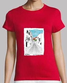 Camiseta roja con ilustración de la Calle maestro de la música de Altea, para mujer