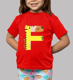 Camiseta roja, con la letra F