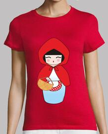 Camiseta roja Kokeshi Caperucita Roja